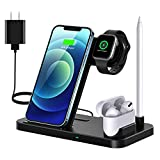 Wireless Charger, 4 in 1 Fast Wireless Charging Station Compatible with Apple Watch Airpods Pro iPhone 12/12 Pro/11/11 Pro/8/X, Wireless Charging Stand Compatible with Samsung