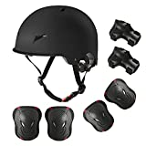 Skateboard Bike Helmet for Adults Adjustable Knee Elbow Pads Wrist Guards Protective Gear Helmets Set Teens for Bicycle Cycling Skate Scooter Bicycle Helmet for Youth