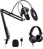 Microphone with Studio Headphone Set 192kHz/24bit MAONO Vocal Condenser Cardioid Podcast Mic Compatible with Mac and Windows, YouTube, Gaming, Live Streaming, Voice-Over (AU-A04H)
