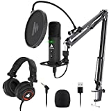 USB Podcast Microphone with Headphone Set, MAONO Zero-Latency Monitoring Computer Condenser PC Mic 192KHZ/24Bit with Mute Button for Recording, Voice Over, Streaming(AU-PM401H)