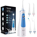TOPOINT Cordless Dental Oral Irrigator Water Dental Flosser Professional Teeth Cleaner Braces & Bridges Care with 300ML Water Tank 3 Modes Portable Rechargeable IPX7 for Home Travel
