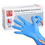 Large Disposable Vinyl Exam Gloves, 100 Count - 4 Mil-Thick -Latex Free Powder Free, Food Safe, Cleaning Gloves-Blue
