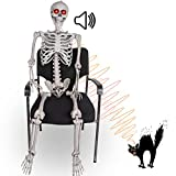 Halloween Posable Skeleton - 5.5FT Life Size Skeleton Decoration Realistic Pose-n-stay Human Skeleton with LED Glowing Eyes - Motion Sensor Hanging Props Creepy Sound for Halloween Decorations