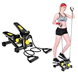 Stair Stepper for Exercise - Twist Stepper Mini Fitness Equipment with Resistance Bands and LCD Monitor, 300lbs Weight Capacity