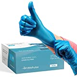 Blue Vinyl Disposable Gloves Large 50 Pack - Latex Free, Powder Free Medical Exam Gloves - Surgical, Home, Cleaning, and Food Gloves - 3 Mil Thickness