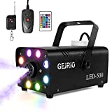 GEJRIO Fog Machine, 500W Smoke Machine with 16 Color Controllable Lights Effect, Wireless and Wired Remote Control with Preheating Light Indicator for Weddings, Halloween, Parties & Stage (Black)
