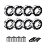 QZspeed 608-2RS Ball Bearings,Skateboard Bearings 8x22x7mm,ABEC-9, 8 pcs with 4spacers and 8 washers