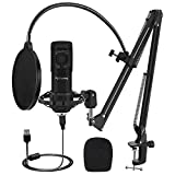 Piy Painting USB Microphone Kit, Condenser Microphone Kit with 192KHZ/24Bit Studio Mic Sound Chipset Scissor Arm, Plug & Play Recording Microphone for PC Gaming Streaming Podcasting