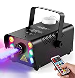 Sunolga Halloween Fog Machine,6 Stage LED Lights with 12 Colors,500W Wireless Remote Control Portable Smoke Machine,with Fuse Protection,for Holidays Parties Weddings Stage Club Bar - Black