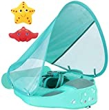 VQ-Ant Newest Size Improved Add Tail Never Flip Over Mambobaby Solid Swimming Float Non Inflatable Swim Trainer Pool Floa with Canopy (GreenC)