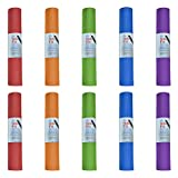 Hello Fit Yoga Mats, Bulk 10 Pack, Affordable Exercise Gym Mats with Non-Slip Texture, Easy to Clean, Assorted