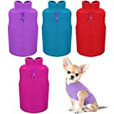 4 Pieces Dog Fleece Vest Dog Cold Weather Pullover Dog Cozy Jacket Winter Dog Clothes Pet Sweater Vest with Leash Ring for Small Dogs (Purple, Blue, Rose, Red, S)