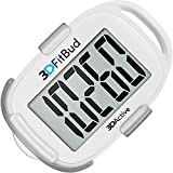3DFitBud Simple Step Counter Walking 3D Pedometer with Clip and Lanyard, A420S (White)