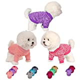 Dog Sweater 3 or 2 Pieces for Small Medium Large Dog or Cat, Warm Soft Pet Clothes for Puppy, Small Dogs Girl or Boy, Dog Sweaters Shirt Jacket Vest Coat for Winter (Small, Pink+Purple+HotPink)