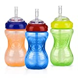 Nuby 3 Piece No-Spill Cup with Flex Straw, Neutral, 10 Ounce