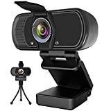 Webcam with Microphone,Hrayzan 1080P HD Webcam with Privacy Cover and Tripod,Streaming Computer Web Camera with 110 Degree Wide View Angle,USB PC Webcam for Video Calling Recording Conferencing