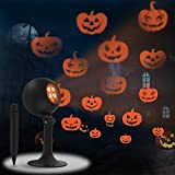 Halloween Lights, Outdoor Projector Decorations Indoor LED Projection Light Dynamic Different Pumpkin Patterns Show Holiday Landscape Outside Spotlight for Party House Porch Wall Gate Garage