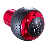 Arenbel 5 Speed Leather Car Shifter Ball Handle Manual Gear Stick Shift Lever Knob Fit Most MT Trucks Vehicles, Red