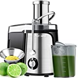 POTANE Juicer Machine Centrifugal Juicer, Easy to Clean Juice Extractor, Juicer Machines for Vegetable and Fruit, 700 Watts, Titanium Enhanced Filter, Anti-drip, High Quality (Stainless Steel)