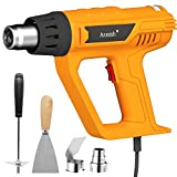 Heat Gun, Asnish 1800W Heavy Duty Hot Air Gun Kit Variable Temperature Control with 2-Temp Settings 2 Nozzles 122℉~1202℉(50℃- 650℃)with Overload Protection for Crafts, shrink Wrapping, Stripping Paint