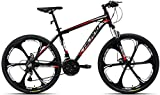 Hiland 26 Inch Mountain Bike Aluminum MTB Bicycle with 17 Inch Frame Kickstand Disc-Brake Suspension Fork Cycling Urban Commuter City Bicycle 3-Spokes