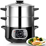 Secura 2 Stainless Steel Food Steamer 8.5 Qt Electric Glass Lid Vegetable Steamer Double Tiered Stackable Baskets with Timer