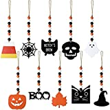10 Pieces Halloween Tree Ornaments Wood Bead Garland Farmhouse Wall Hanging Garland with Pumpkin Spider Skeleton Ghost Halloween Prayer Bead Tiered Tray Decor with for Halloween Shelf Display