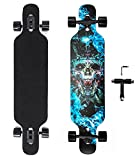 42 Inch Longboard Skateboard 9 Ply Natural Maple Complete Skateboard Cruiser for Cruising, Carving, Free-Style and Downhill with T-Tool (Flame)