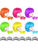 6 Pack Colored Wigs, Funky Colorful Wigs, Short Bob Hair Wigs, Neon Party Wigs, Cosplay Wigs with Rimless Heart Shape Sunglasses - One Size for All Women Kids & Adults Halloween Costume Night Club