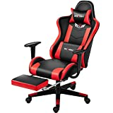 Shuanghu Gaming Chair Office Chair Ergonomic Computer Chair with Reclining Chair with Headrest and Lumbar Support Video Game Chair for Adults Teens Desk Chair(Footrest) (Red)