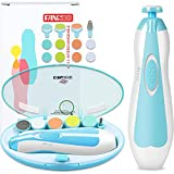 Baby Nail Trimmer, FANSIDI Baby Electric Nail File Safe Clippers with 10 Grinding Pads 8 Sandpapers LED Light, Trim Polish Grooming Kit for Newborn Infant Toddler or Adults Toes Fingernails Care, Blue