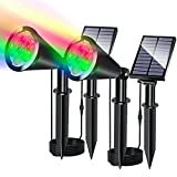 YUMAMEI 2 Pack Solar Spotlights with Separated Solar Panel, RGB Color Changing Halloween Decoration Light Outdoor Waterproof Solar Spot Lights Multi-Color, Solar Garden Light (Changing & Fixed Color)