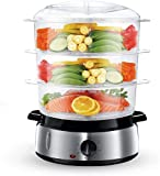 Food Steamer For Cooking, 800W Electric Vegetable Steamer BPA-Free with Timer and 3 Tier Stackable Baskets, Electric Steamer Pot Cooker Built-in Egg Holders and Rice Bowl, 9.5 Quart