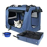 Prutapet Large Cat Carrier 24x16.5x16.5 Soft-Sided Portable Pet Crate for Car Traveling with Collapsible Litter Box and Bowl