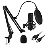 USB Microphone, EPTISON 192kHZ/24bit Professional PC Podcast Streaming Cardioid Condenser Microphone Kit with Boom Arm, Shock Mount, Pop Filter, for Gaming, Recording, YouTube, Voice Over, Meeting