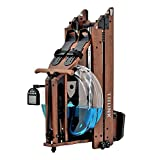 TRUNK Foldable Water Rowing Machine for Home Fitness, Classic Wood Water Rower with LCD Monitor Whole Body Exercise Cardio Training (Included an Dust Cover and Phone Holder)