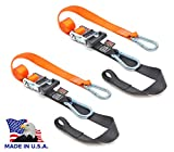 PowerTye 1.5in x 6.5ft Heavy Duty Ratchet Straps, Made in USA with Soft-Tye and Carabiner Hooks, Orange/Black (pair)