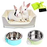 PINVNBY Rabbit Corner Litter Box with Drawer for Cage Small Animal Litter Pan Hanging Pet Feed Bowls Cage Potty Trainer Pet Toilet for Rabbit Bunny Guinea Pigs Chinchilla Ferret