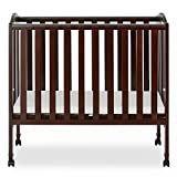 Dream On Me 2 in 1 Portable Folding Stationary Side Crib in Espresso, Greenguard Gold Certified 40x26x38 Inch (Pack of 1)