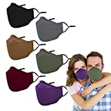 Reusable Cloth Face Masks Washable - 4 Layer 4D Anti Fogging Adult Face Mask with Nose Wire, Breathable Cotton Adjustable Fabric Mask with Filter Pocket for Women & Men(6 Pack)