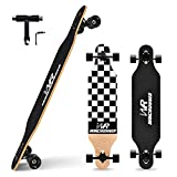 Windrunner 41 inch Freeride Longboard Skateboard,8-Ply Natural Maple Drop Through Freestyle Complete Skateboard Cruiser Pintail for Cruising,Carving,Free-Style and Downhill,Black and White Case