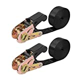 Endless Ratchet Tie Down Straps Heavy Duty Cargo Tie Downs, Durable Nylon Black Strap Down Ratcheting Securing Straps, Track Spring Fittings, Tie-Down Motorcycles, Trailer Loads, Kayak (8ft - 2pack)