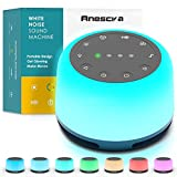 Anescra White Noise Machine for Baby Adults Kids Sound Machine Battery and Plug in, 24 Soothing Sounds Machine with Night Light, Portable Sleep Noise Maker Machine for Home, Office, Travel