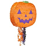 Small Pumpkin Pinata for Halloween Party, Pull String (16.5 x 13 x 3 Inches)