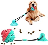 Dog Toys for Aggressive Chewers Dog Toys Puppy Toys for Molar Training, Dogs Teething Rope Toys with Suction Cup, Food Dispensing Teeth Cleaning Interactive Pet Pull Rope Squeaky Chew Toys Ball Toys