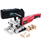 AOBEN 8.5 Amp Biscuit Cutter Plate Joiner with No. 0 Wood(30 Pcs)No. 10 Wood(30 Pcs)No. 20 Wood(50 Pcs), 4' Tungsten Carbide Tipped Blade, Adjustable Angle and Dust Bag