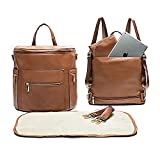 Leather Diaper Bag Backpack by Miss Fong, Baby Registry Search,Backpack Diaper Bag with Changing Pad,Diaper Bag Organizer,Stroller Straps and Insulated Pockets (Convertible)
