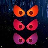 FUNPENY 3 Pack Halloween Spooky Ghost Eyes with Suction Cup, Light Up Battery Powered Window Decorations for Room Store Showcase Halloween Decor (Red, Purple, Orange)