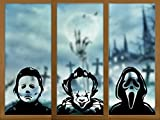 Whaline Halloween Window Decals 15.7 x 39.4' Large Michael Myers Clown Ghost Killer Window Clings Scary Horror PVC Stickers for Halloween Party Home Office Window Glass Mirror Decoration