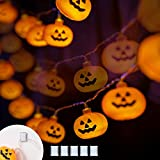 Varmax Halloween Lights String 40 LED 17FT USB Powered Pumpkin Lights with 8 Lighting Modes for Indoor Outdoor Decorations